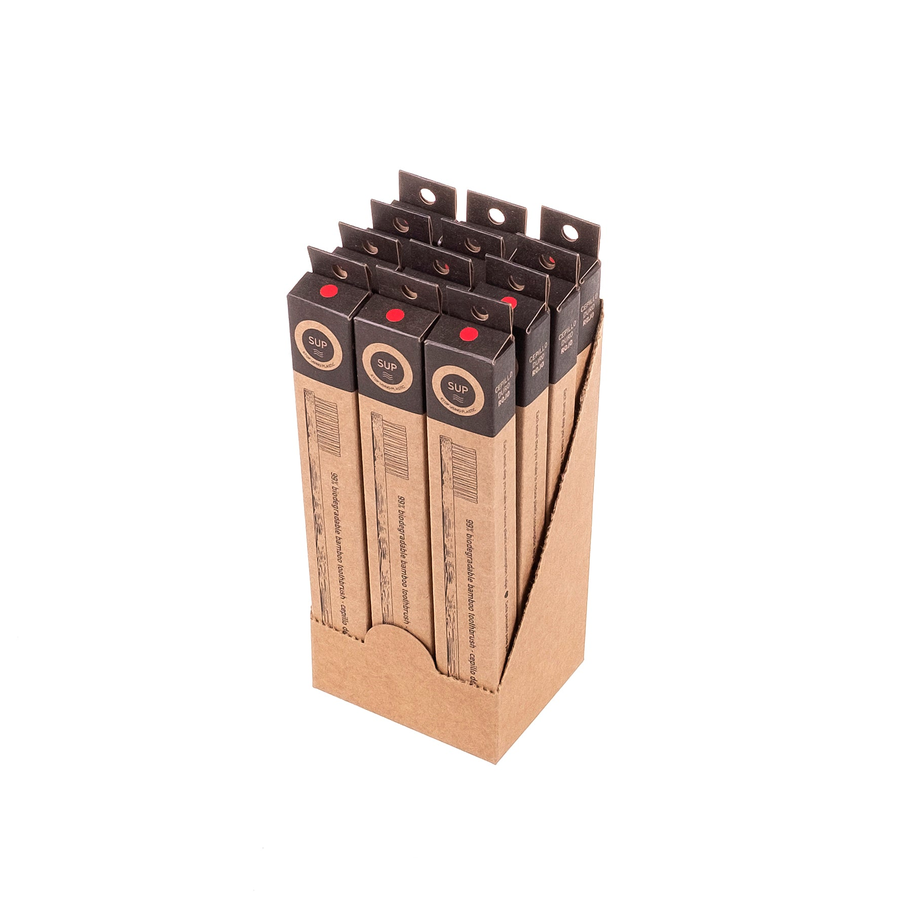 12 Pack Bamboo Toothbrush - Hard Red Bristle