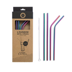 Rainbow Metal Straws - Pack of 4