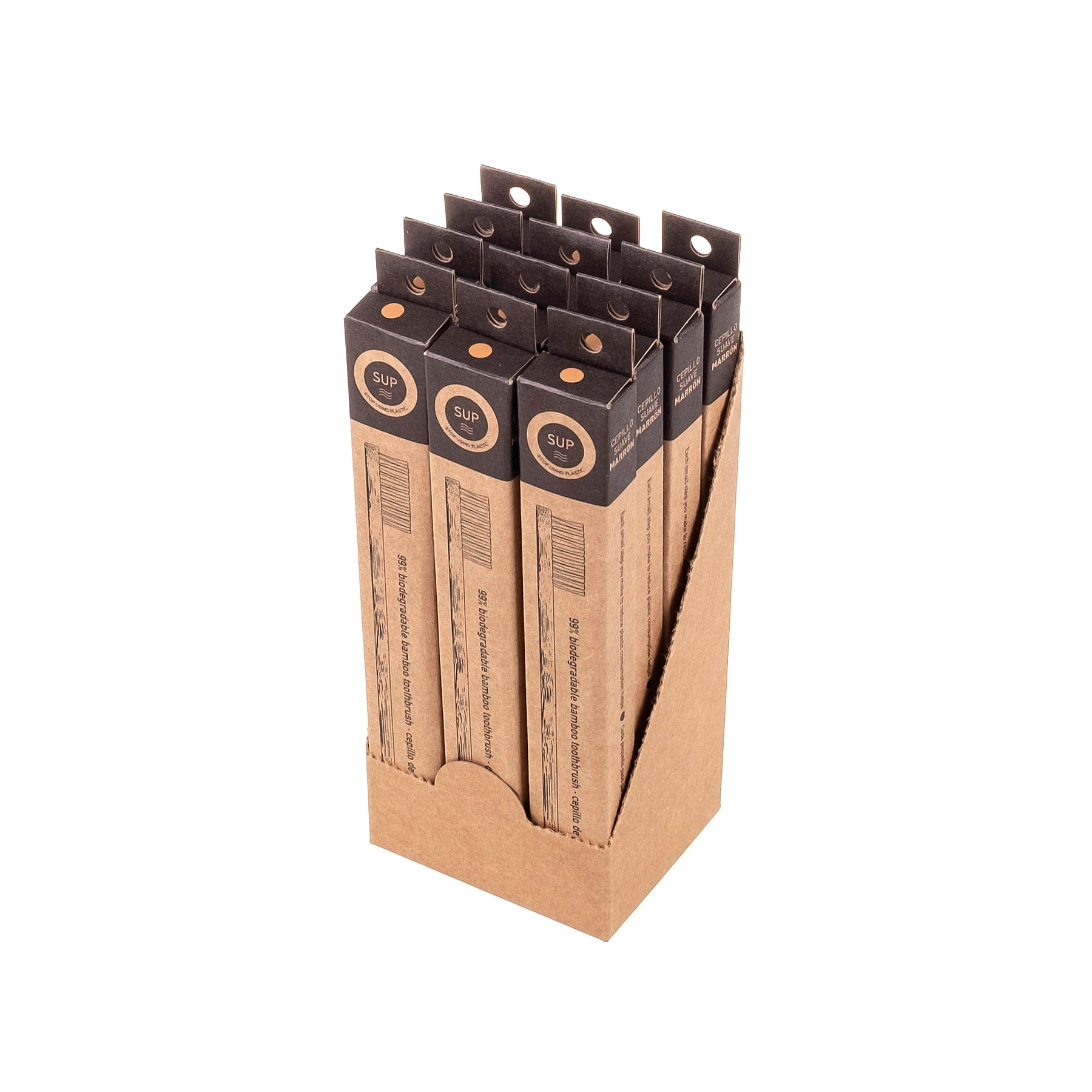 12 Pack Bamboo Toothbrush - Soft Brown Bristle