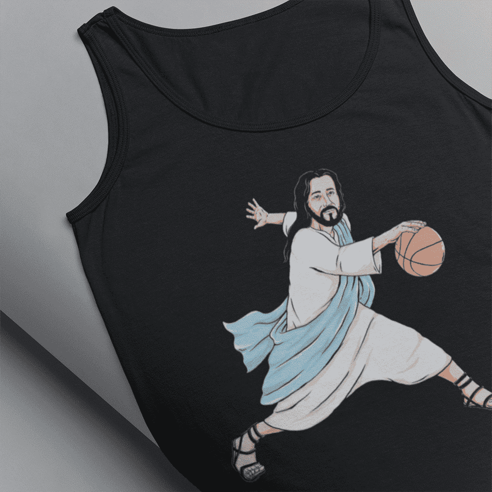 Men's Jesus Crossover Black Tank Top