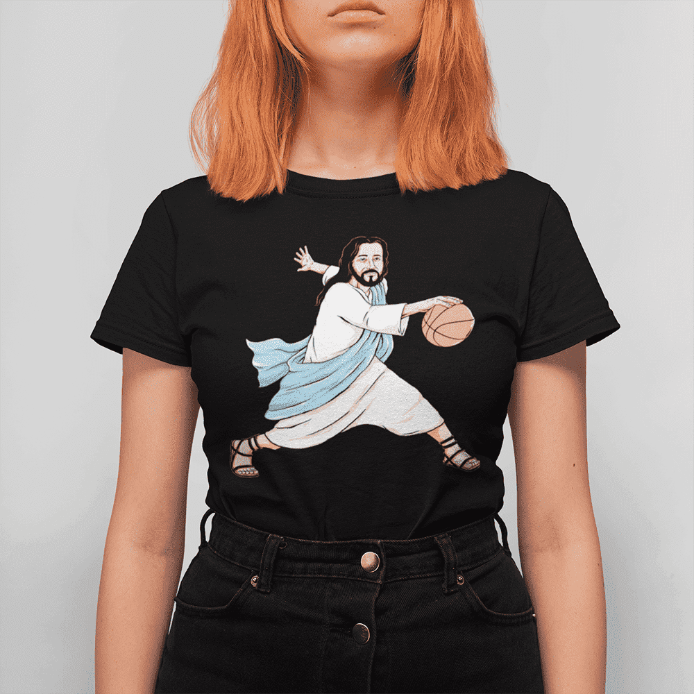 Women's Jesus Crossover Black T-Shirt