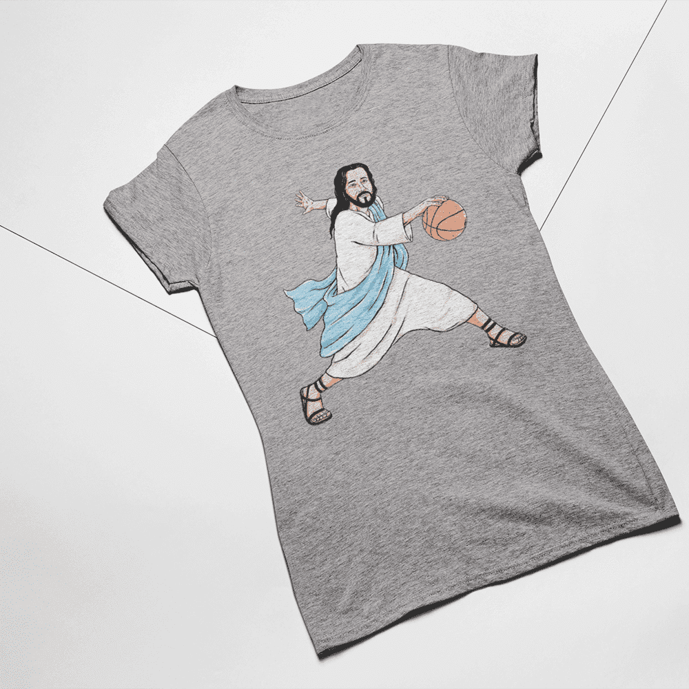 Women's Jesus Crossover Gray T-Shirt