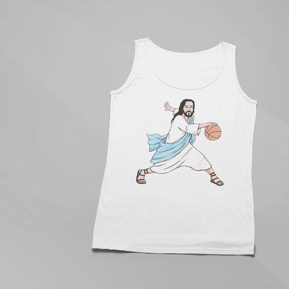 Women's Jesus Crossover White Tank Top