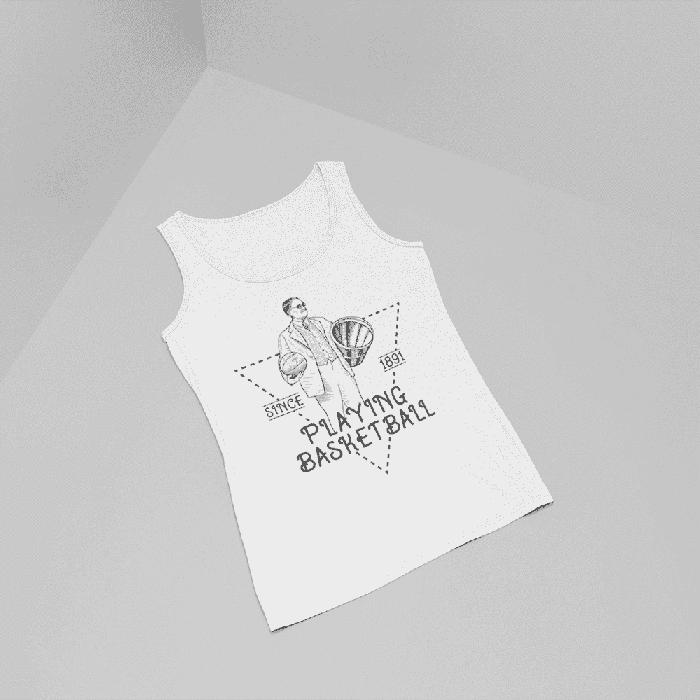 Women's Playing Basketball Since 1891 Black And White Tank Top