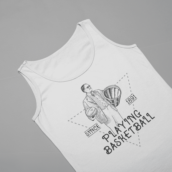 Women's Playing Basketball Since 1891 Blue And White Tank Top
