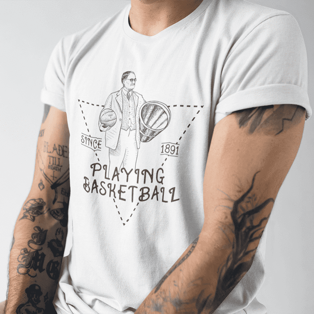 Men's Playing Basketball Since 1891 Black & White T-Shirt