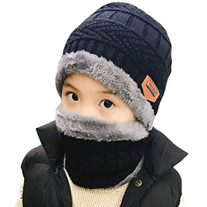 Winter Hat Scarf for Boys Girls Kids (5-14 Years) Slouchy Beanie Windproof d36f16e42658