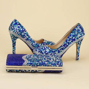 Royal Blue Mix With Silver Crystals Shoes Matching Bag
