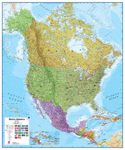 North America 1:7 Wall Map - Laminated, Wall Maps, Waypoint Geographic - Waypoint Geographic