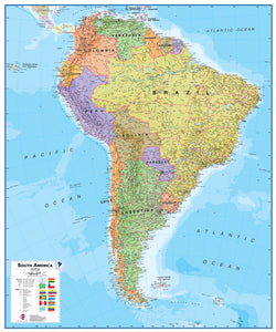 South America 1:7 Wall Map - Laminated, Wall Maps, Waypoint Geographic - Waypoint Geographic