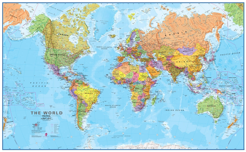 World Wall Map 120 Scale Laminated Map of the World Waypoint
