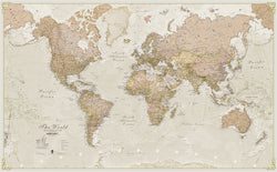 Classic Antique World Wall Map - Laminated, Wall Maps, Maps International - Waypoint Geographic