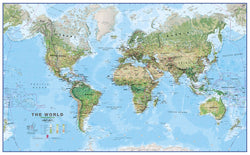 World Physical Environment Wall Map - Laminated, Wall Maps, Maps International - Waypoint Geographic