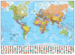 World Wall Map 1:30 Scale - Laminated, Wall Maps, Waypoint Geographic - Waypoint Geographic