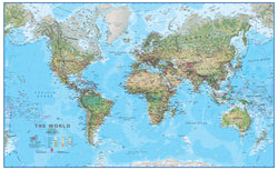 World Physical Wall Map - Laminated, Wall Maps, Waypoint Geographic - Waypoint Geographic