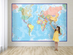 Giant World Wall Map Mural with Blue Oceans, Wall Maps, Maps International - Waypoint Geographic