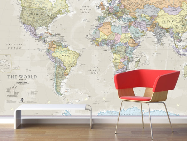 Giant World Wall Map Mural with Classic Antique Oceans