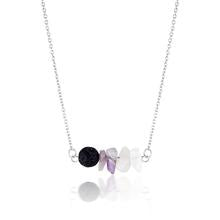 Amethyst, Rose Quartz and Lava Stone Necklace