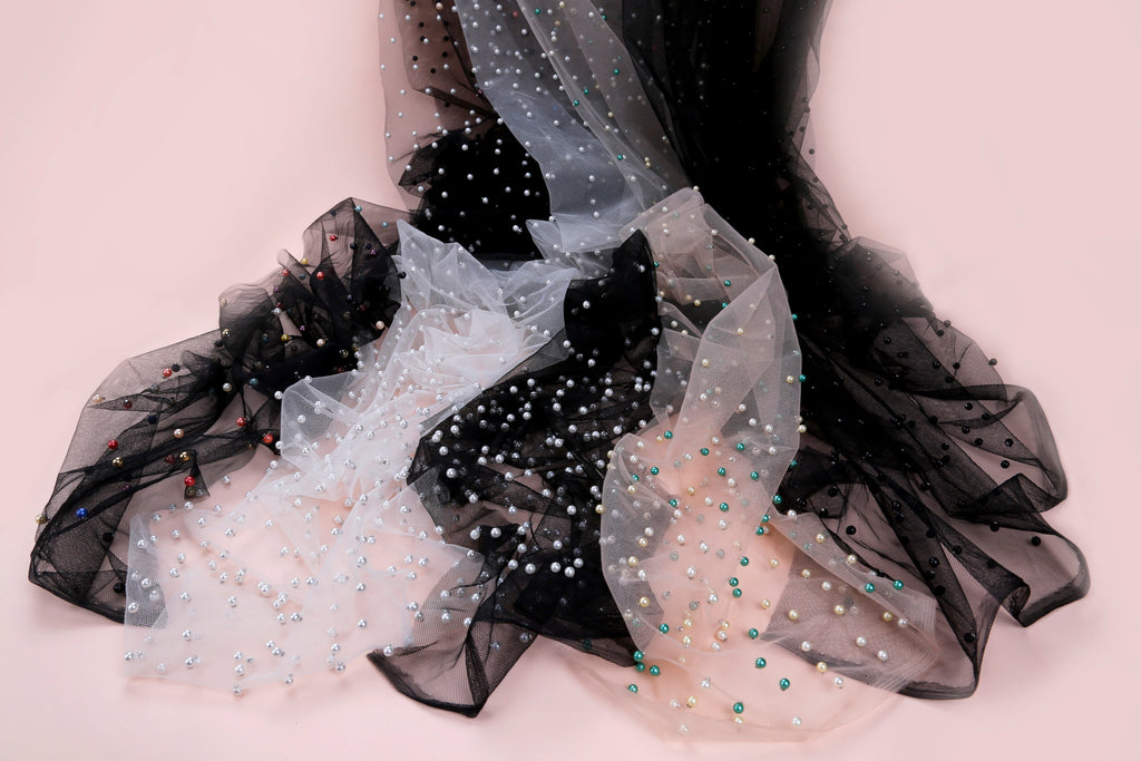 Beaded tulle fabric | party wear dress fabrics