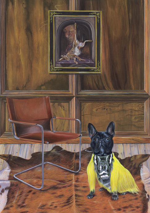 Dog Art Prints and Originals – Fendi, French Bulldog – Dressed To Kill by Selina Cassidy