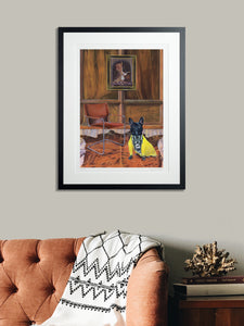 In-situ Artwork - Dog Art Prints and Originals – Fendi, French Bulldog – Dressed To Kill by Selina Cassidy