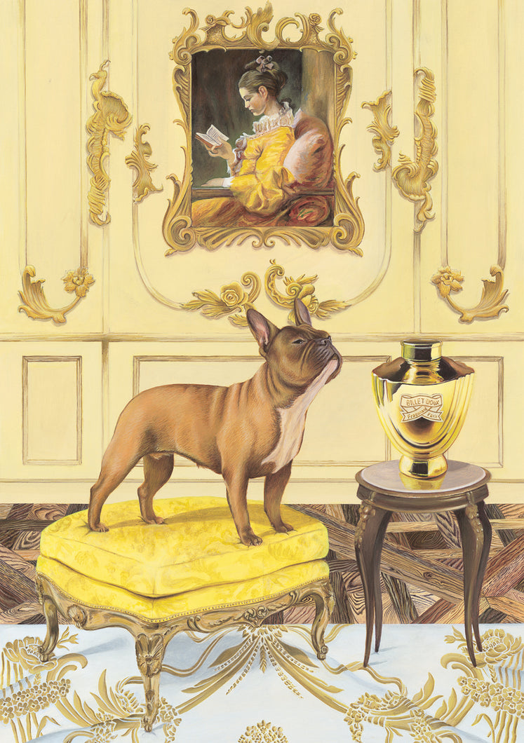 Dog Art Prints and Originals – Fragonard, French Bulldog – A Dogue By Any Other Name by Selina Cassidy