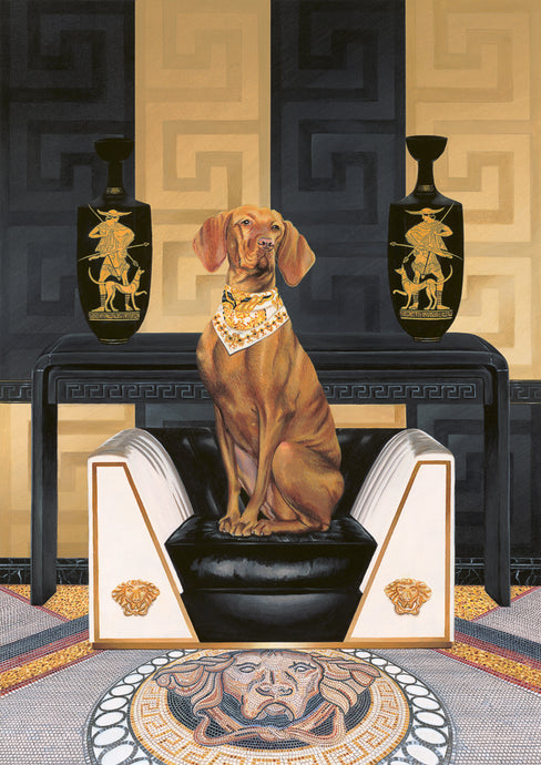 Dog Art Prints and Originals – Versace, Vizsla – Medusa by Selina Cassidy