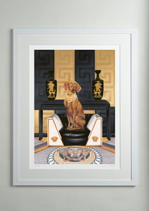 White Modern picture frame - Dog Art Prints and Originals – Versace, Vizsla – Medusa by Selina Cassidy