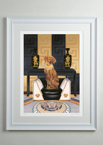 White deluxe picture frame - Dog Art Prints and Originals – Versace, Vizsla – Medusa by Selina Cassidy