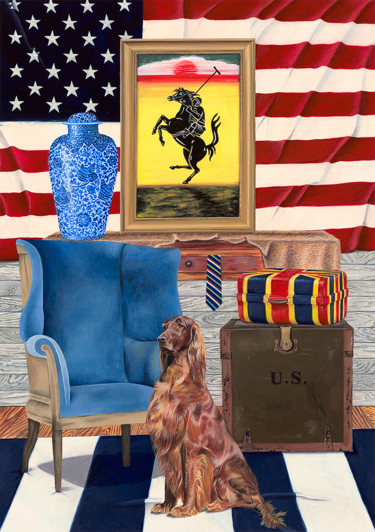 Dog Art Prints and Originals – Ralph Lauren, Red Setter - Star and Stripes Selina Cassidy