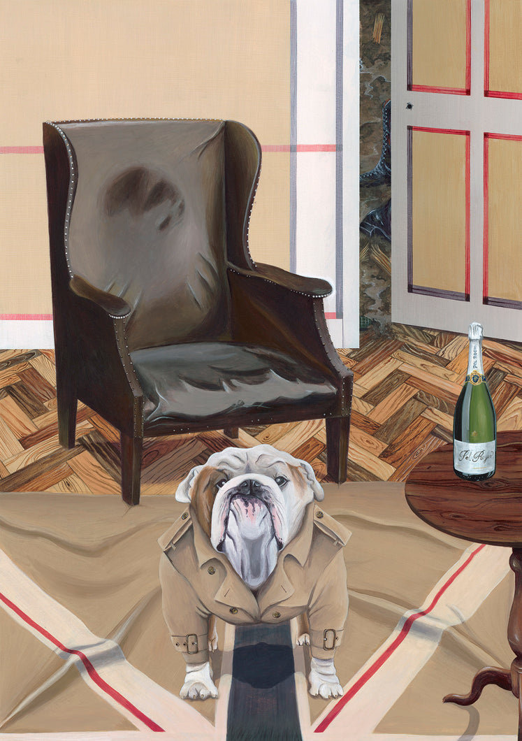 Dog Art Prints and Originals – Burberry, Bulldog Art – The Finest Hour by Selina Cassidy