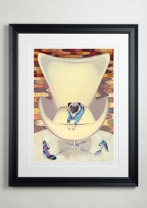 Black Deluxe Picture Frame - Dog Art Prints and Originals – Pucci, Pug Art – Multum In Parvo by Selina Cassidy