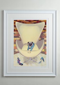 White Deluxe Picture Frame - Dog Art Prints and Originals – Pucci, Pug Art – Multum In Parvo by Selina Cassidy