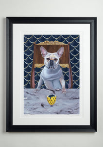 Black deluxe picture frame - Dog Art Prints and Originals – Faberge, French Bulldog – Diamond From Ruff by Selina Cassidy