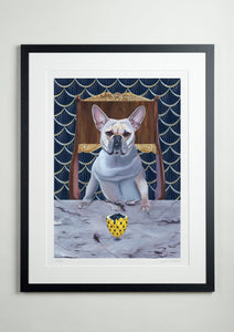 Black modern picture frame - Dog Art Prints and Originals – Faberge, French Bulldog – Diamond From Ruff by Selina Cassidy