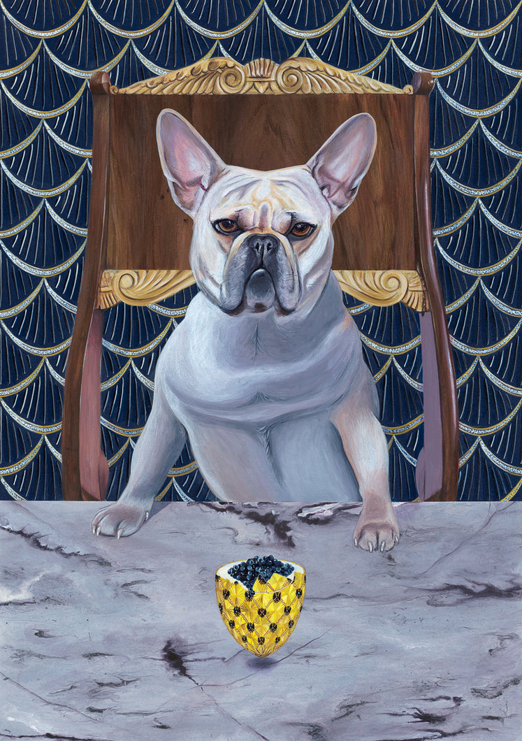 Dog Art Prints and Originals – Faberge, French Bulldog – Diamond From Ruff by Selina Cassidy