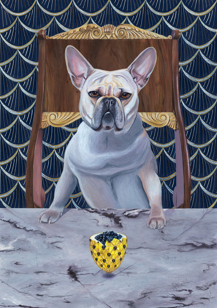 Dog Art Prints and Originals – Faberge, Frenchie, French Bulldog - Diamond From Ruff by Selina Cassidy