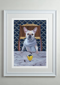 White deluxe picture frame - Dog Art Prints and Originals – Faberge, French Bulldog – Diamond From Ruff by Selina Cassidy