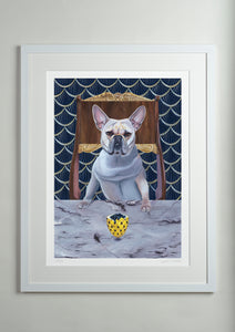 White modern picture frame - Dog Art Prints and Originals – Faberge, French Bulldog – Diamond From Ruff by Selina Cassidy