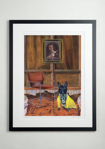 Black Modern picture frame - Dog Art Prints and Originals – Fendi, French Bulldog – Dressed To Kill by Selina Cassidy