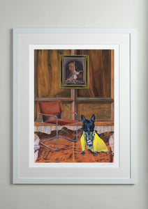 White Modern picture frame - Dog Art Prints and Originals – Fendi, French Bulldog – Dressed To Kill by Selina Cassidy