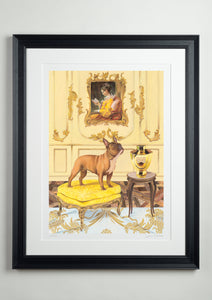 Black deluxe picture frame - Dog Art Prints and Originals – Fragonard, French Bulldog – A Dogue By Any Other Name by Selina Cassidy