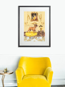 In-situ Artwork - Dog Art Prints and Originals – Fragonard, French Bulldog – A Dogue By Any Other Name by Selina Cassidy