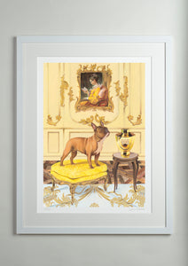 White modern picture frame - Dog Art Prints and Originals – Fragonard, French Bulldog – A Dogue By Any Other Name by Selina Cassidy