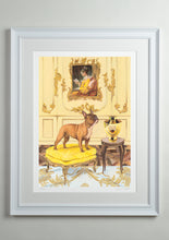 White deluxe picture frame - Dog Art Prints and Originals – Fragonard, French Bulldog – A Dogue By Any Other Name by Selina Cassidy