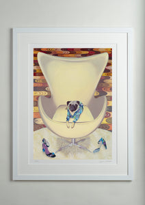 White Modern Picture Frame - Dog Art Prints and Originals – Pucci, Pug Art – Multum In Parvo by Selina Cassidy