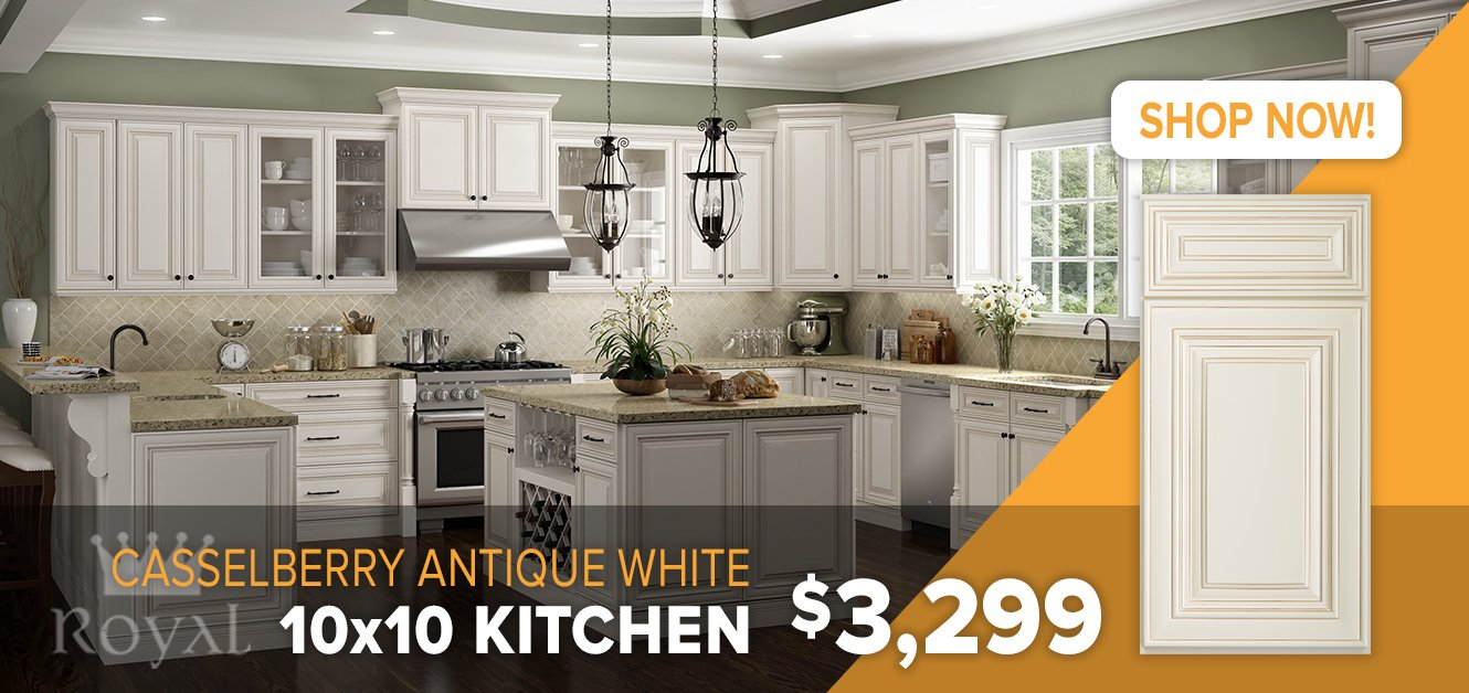 Casselberry Antique White Cabinets