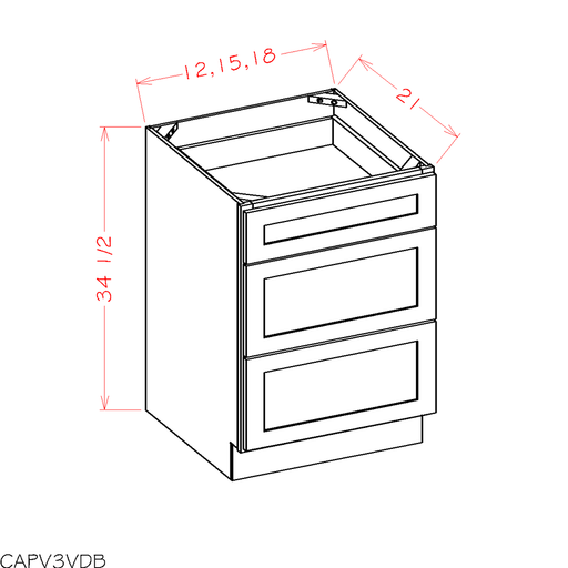 3VDB12 - Shaker White - Vanity Drawer Base Cabinets - Royal Online Cabinets