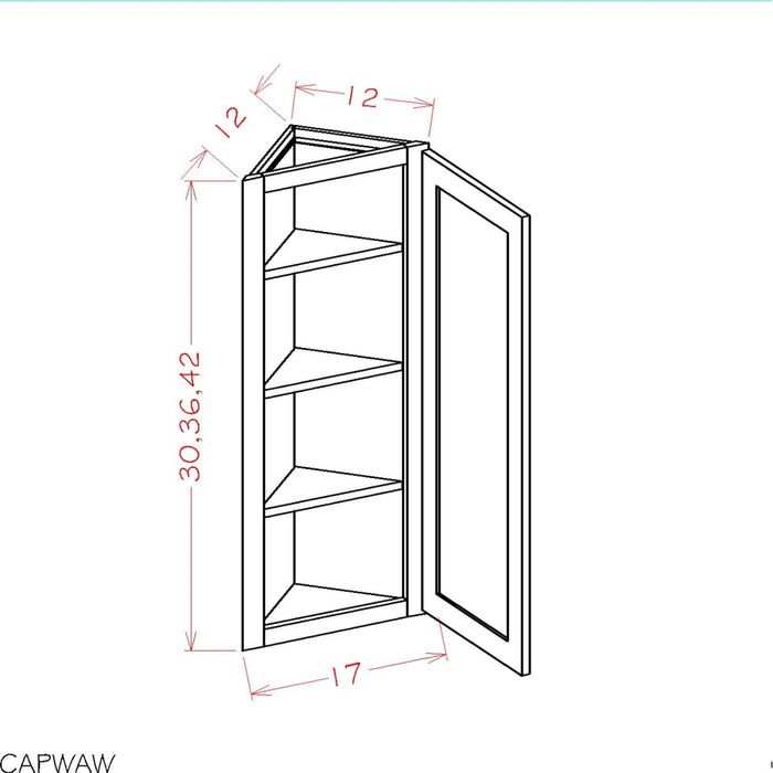 AW1236 - Casselberry Antique White  - Wall Accessory Cabinets - Angle Wall Cabinets - Royal Online Cabinets
