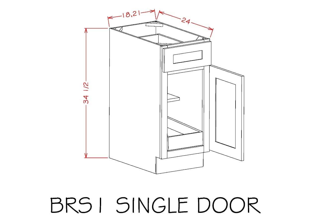 B181RS - Shaker Espresso - Single Door Single Drawer One Rollout Shelf Base Kit - Royal Online Cabinets